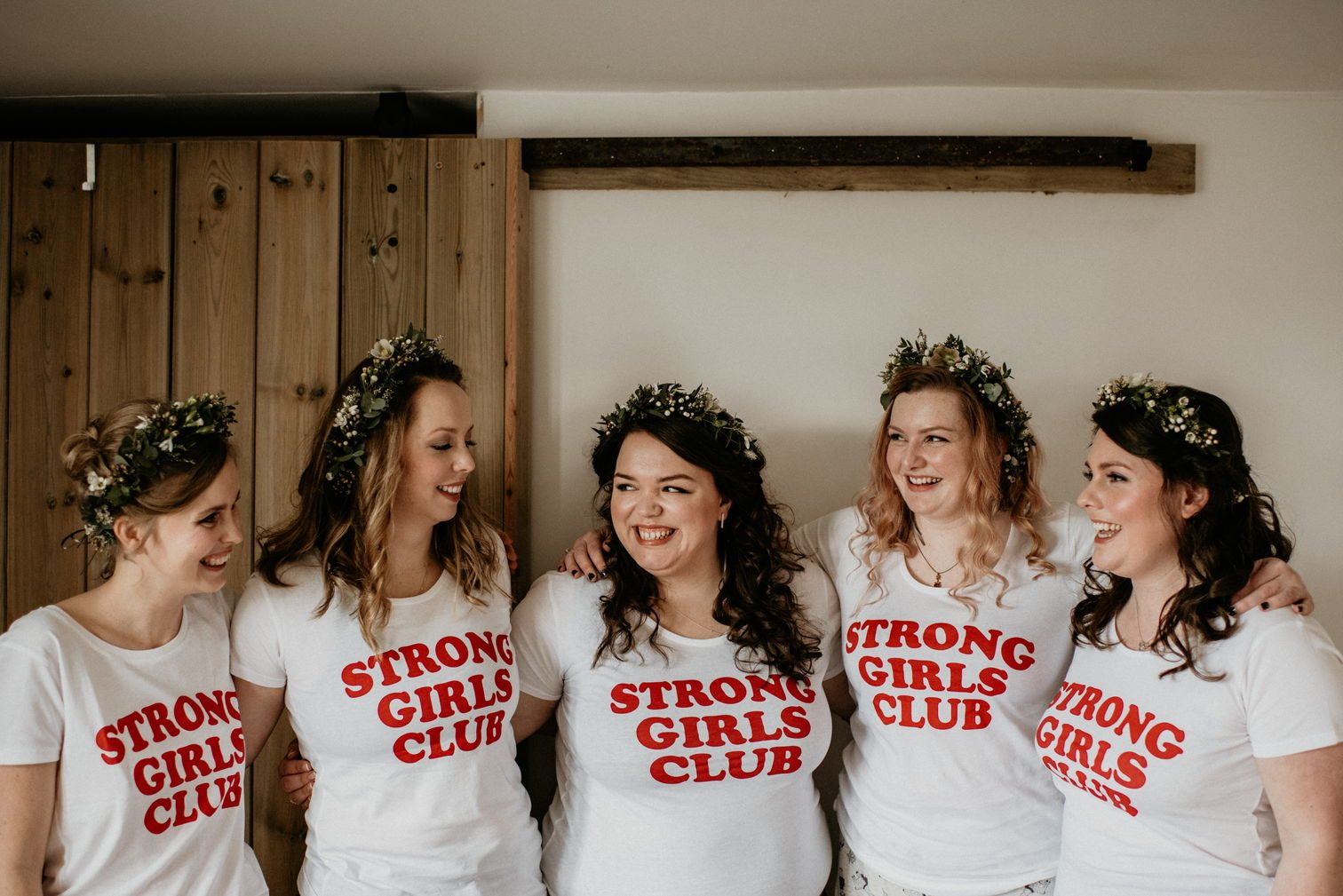"""Alex and her bridesmaids wearing """"Strong girls club"""" t-shirts"""