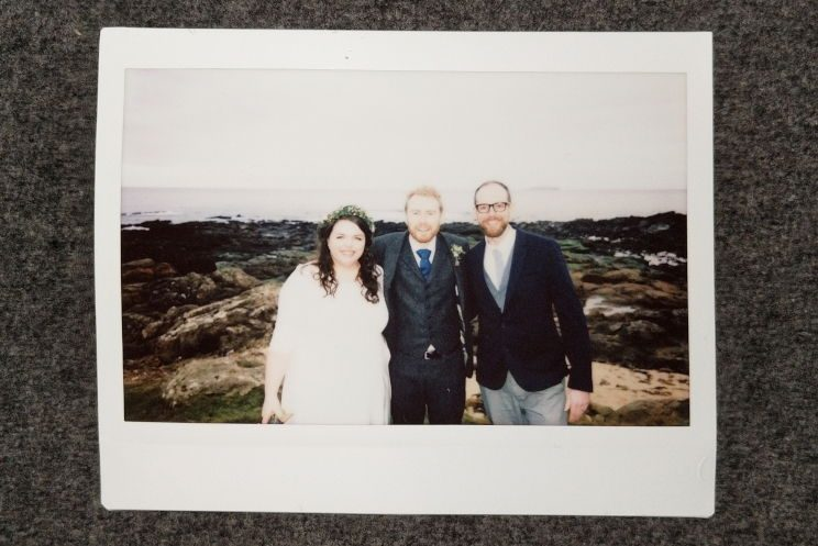 Instant photo of Alex, me and Ross on Crail beach