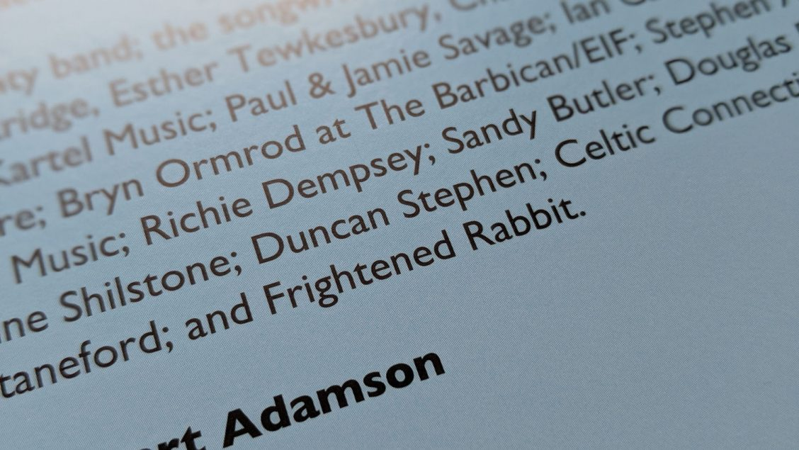 My name on the back sleeve of Scottish Songbook