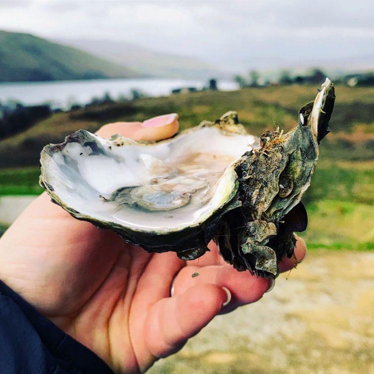 Alex holding an oyster