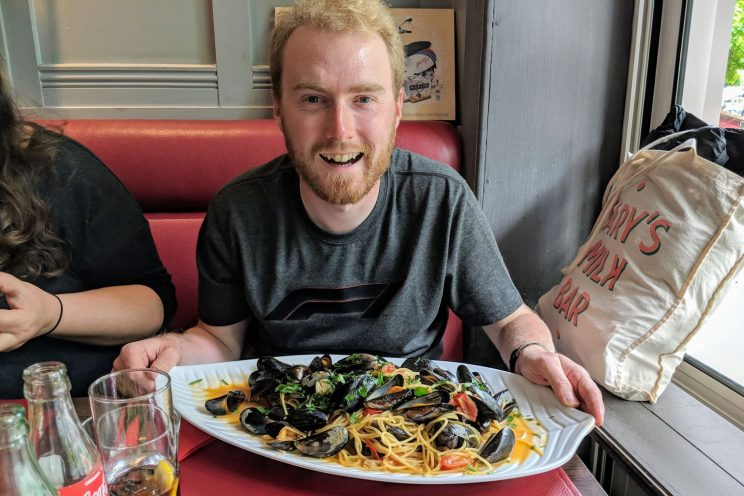 Me with a plate of mussels and spaghetti