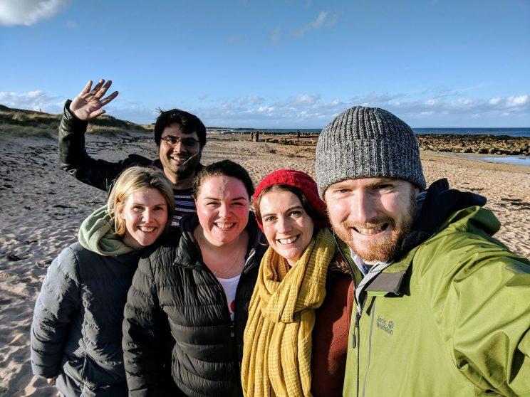 Nicole, Jamie, Alex, Louise and me on Kingsbarns beach