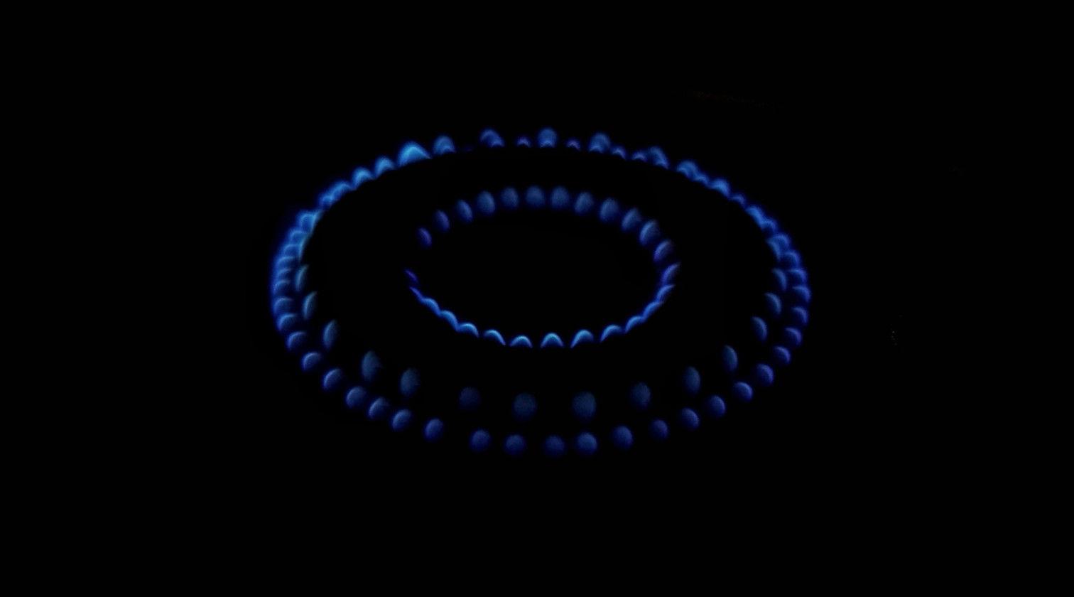 A lit gas hob