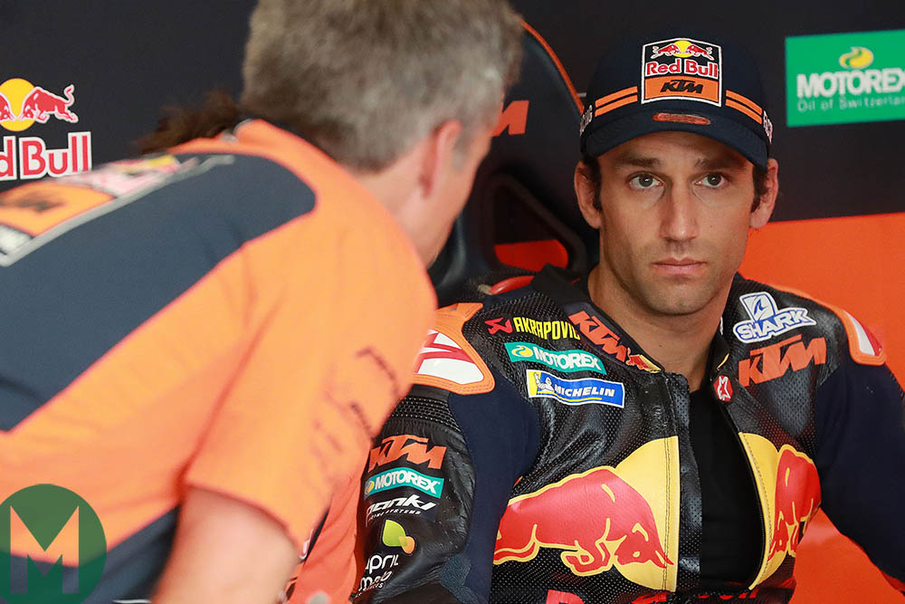 Johann Zarco listening to a mechanic