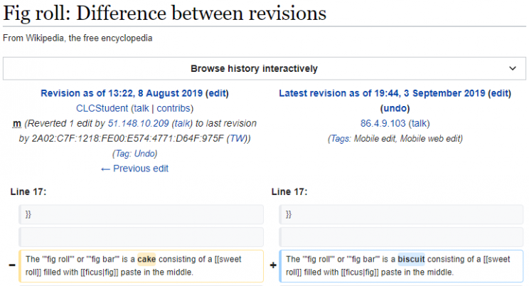 Screenshot showing Wikipedia fig roll article being updated
