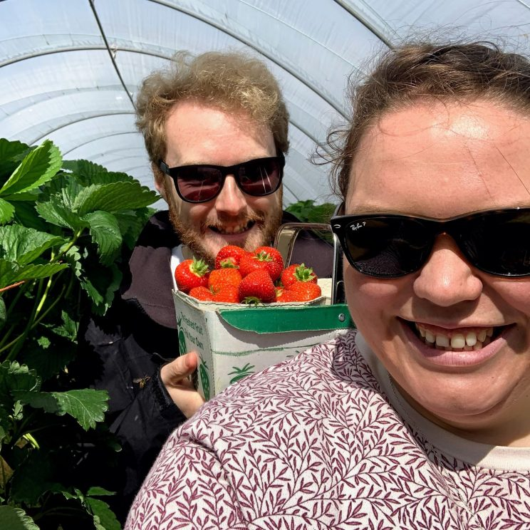 Me and Alex picking strawberries
