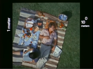 Screenshot from Powers of Ten showing a man having a picnic
