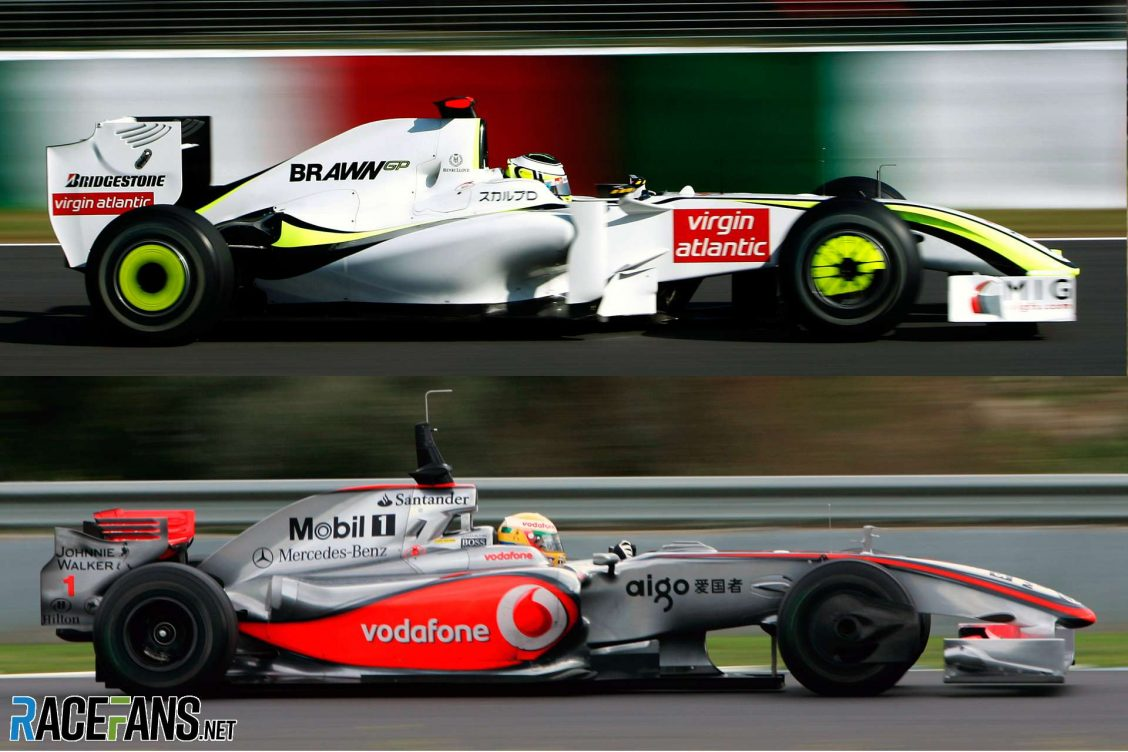Brawn GP and McLaren cars from 2009