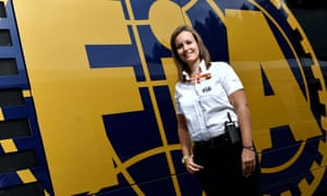 Sílvia Bellot in front of an FIA truck