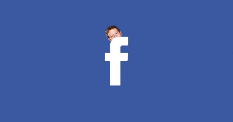 Illustration of Mark Zuckerberg peeking out from behind the Facebook logo