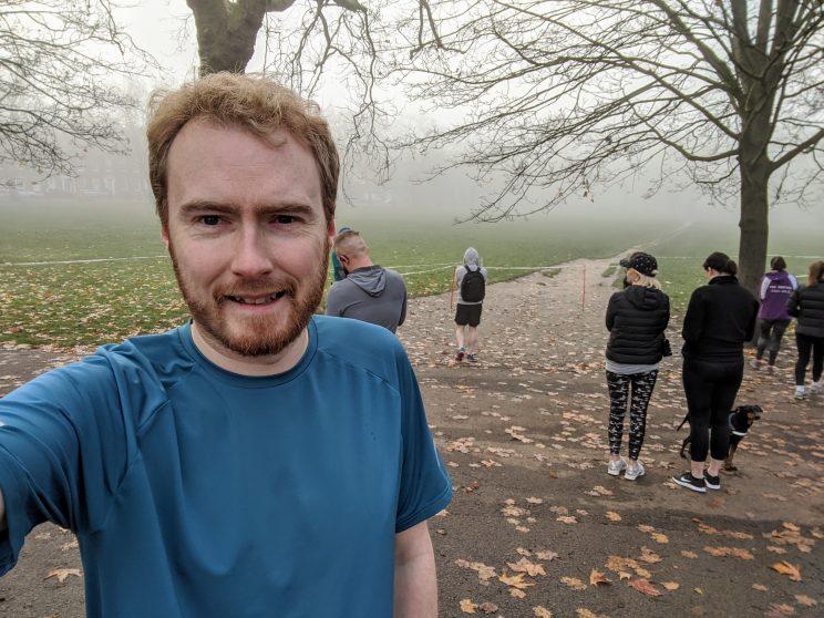 Selfie in the mist before the start of Highbury Fields parkrun