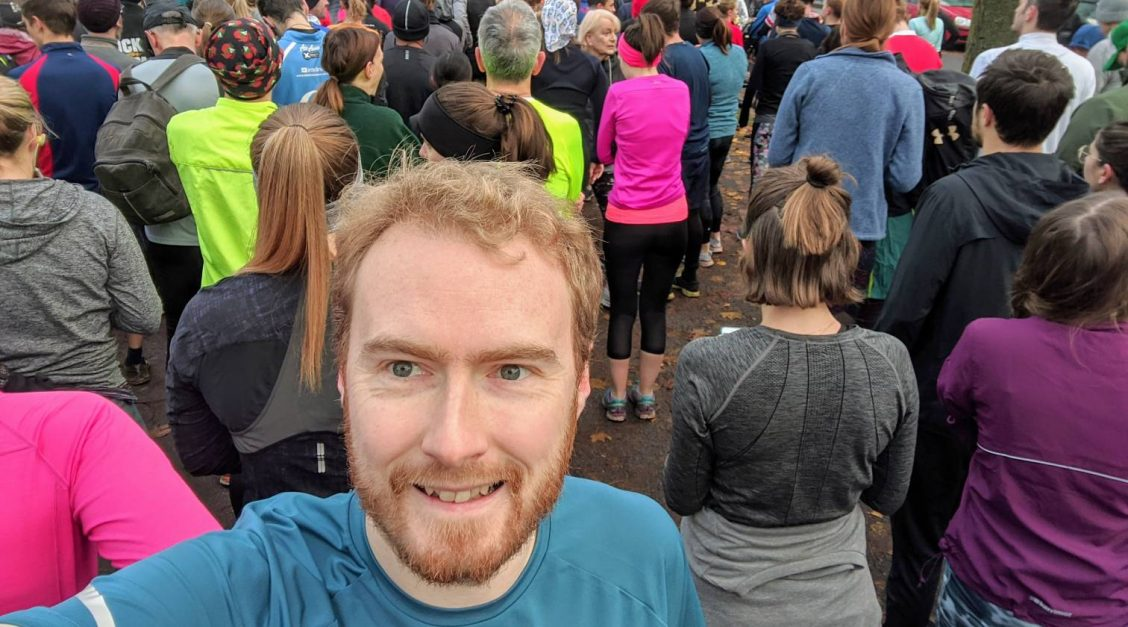 Me taking a selfie before the start of Highbury Fields parkrun