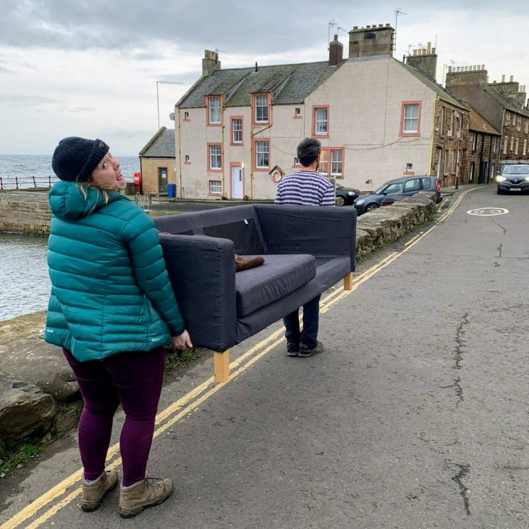 Alex's sister and her fiance moving my old sofa