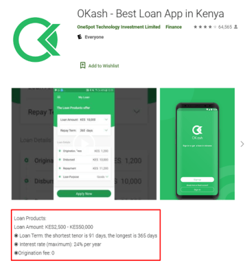 Screenshot of one of Opera's predatory loan apps from the Google Play store