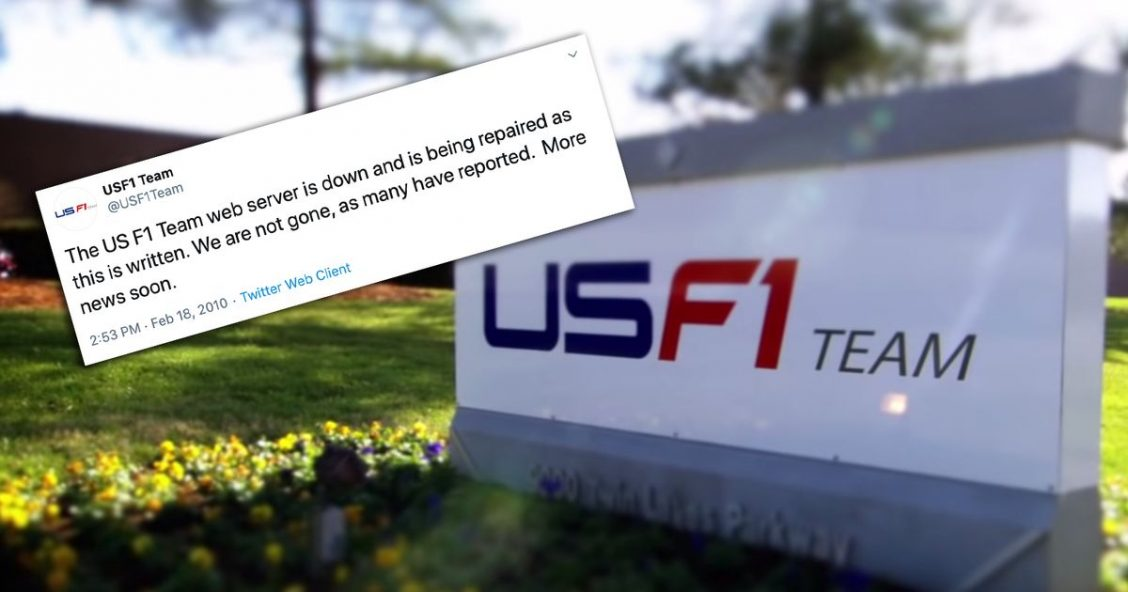 USF1 factory sign and a screenshot of a tweet with USF1 promising news soon