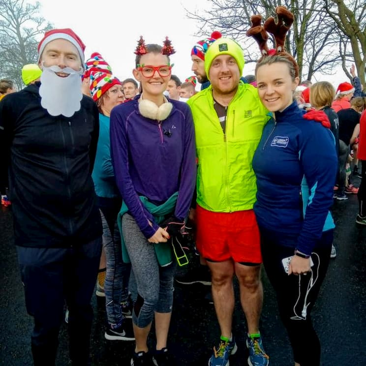 Me and friends at Edinburgh parkrun on Christmas Day