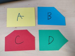 Polling cards of different colours and shapes