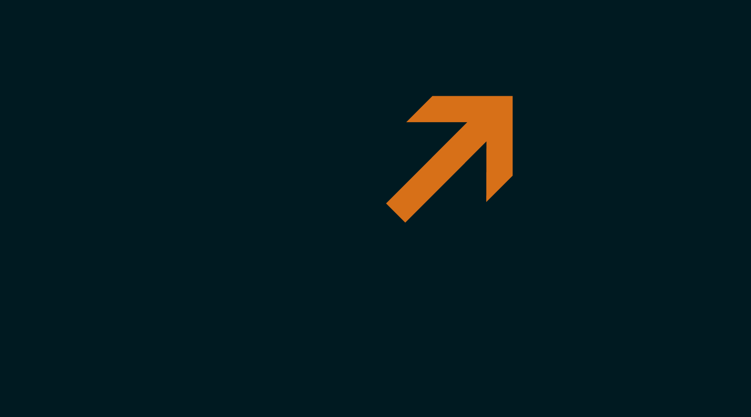 Orange arrow pointing up and right against a black background