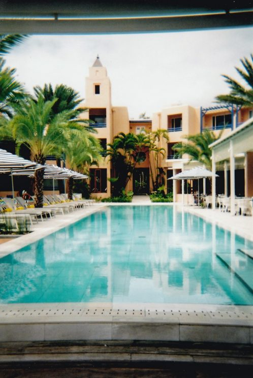 Pool and hotel (taken on the disposable camera)