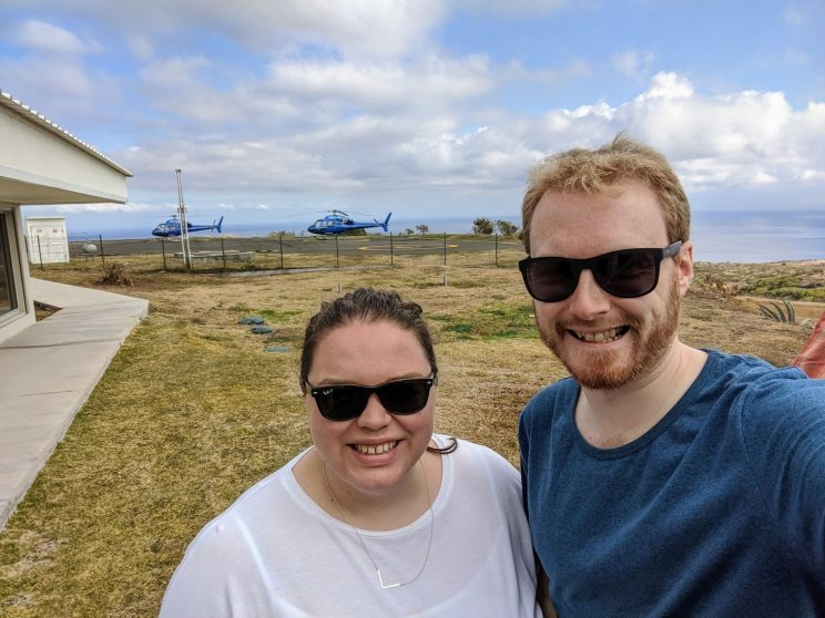 Alex and me posing with the shiny blue helicopters