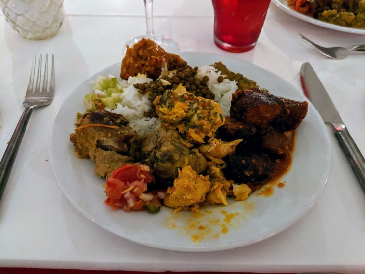 A plate full of creole food