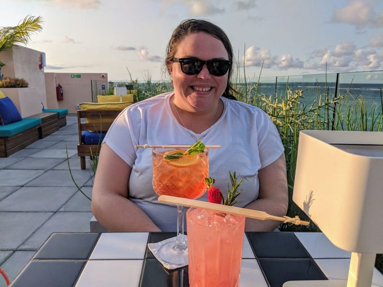 Alex with her cocktail