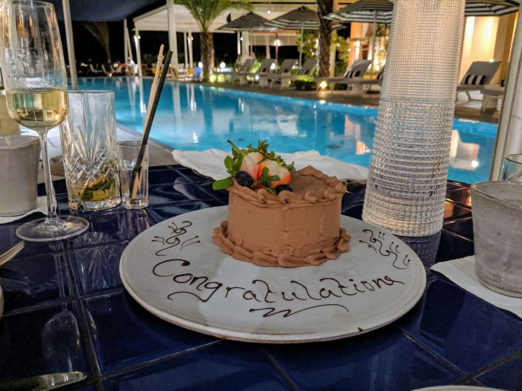 "Chocolate cake with ""Congratulations"" writte on it"