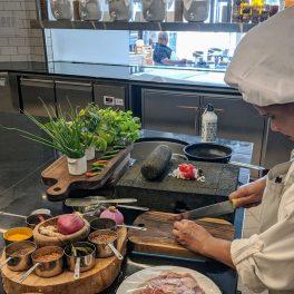 Elzie chopping ingredients