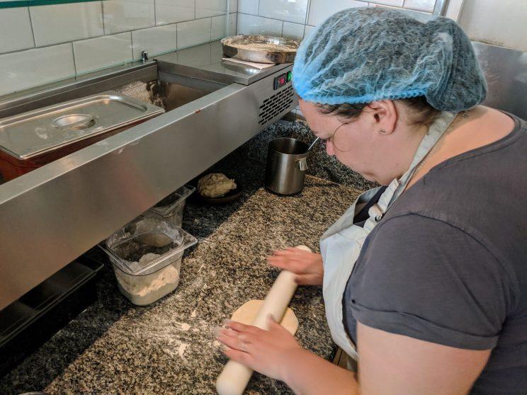 Alex making roti