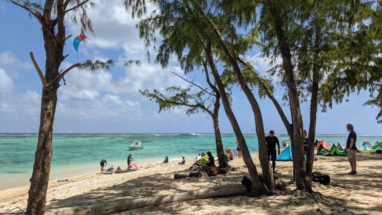 People at Le Morne beach