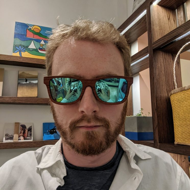 Me wearing my new sunglasses in the shop