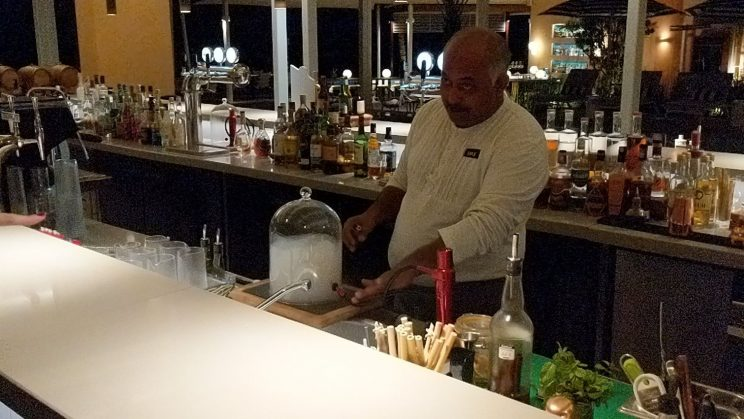 Barman pumping smoke into a bell jar for a smoky cocktail