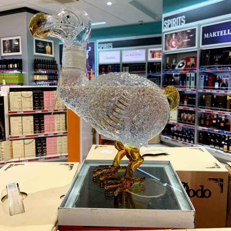 A bottle of rum in the shape of a dodo