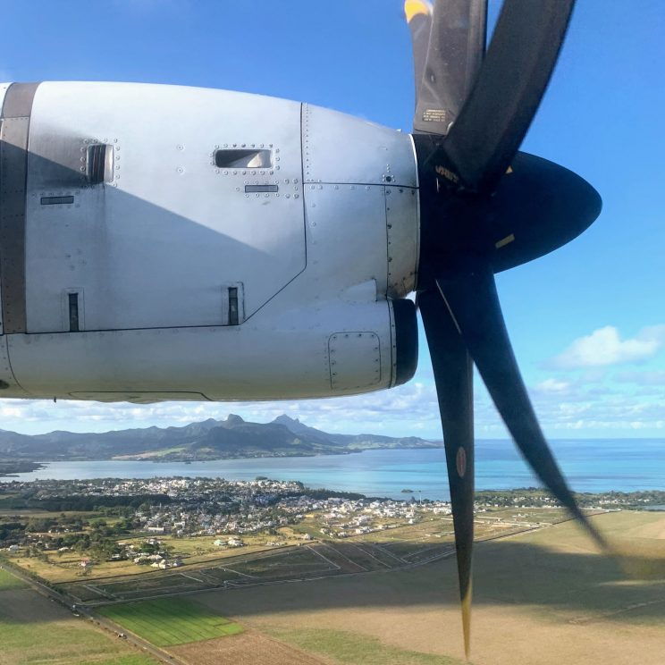 View from the small plane with propellers