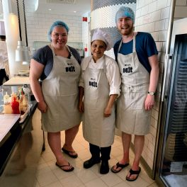 Alex, Elzie and me in the hotel kitchen