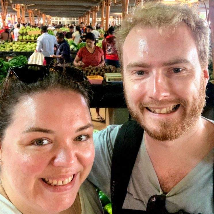 Alex and me in Flacq market
