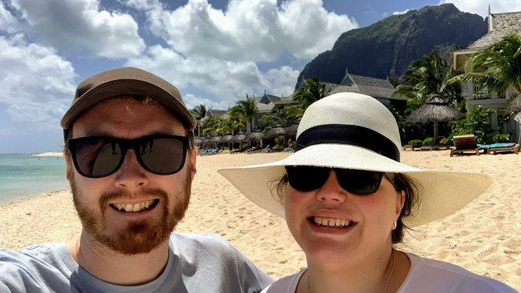 Me and Alex on the beach with Le Morne in the background