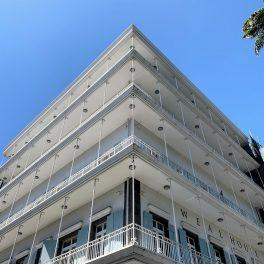 A bright white building