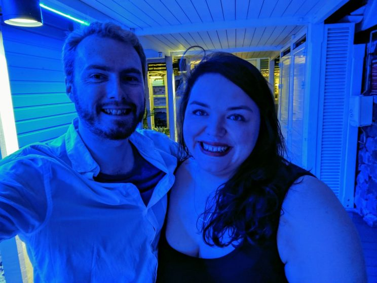 Me and Alex on our way to dinner in blue light