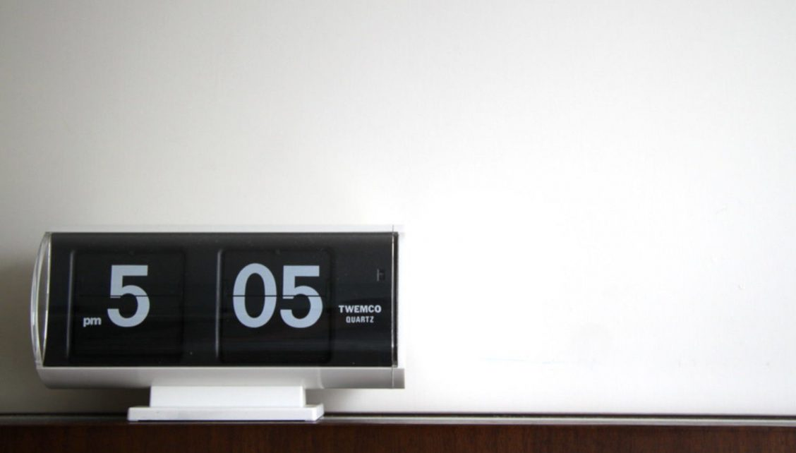 Flip clock on a desk