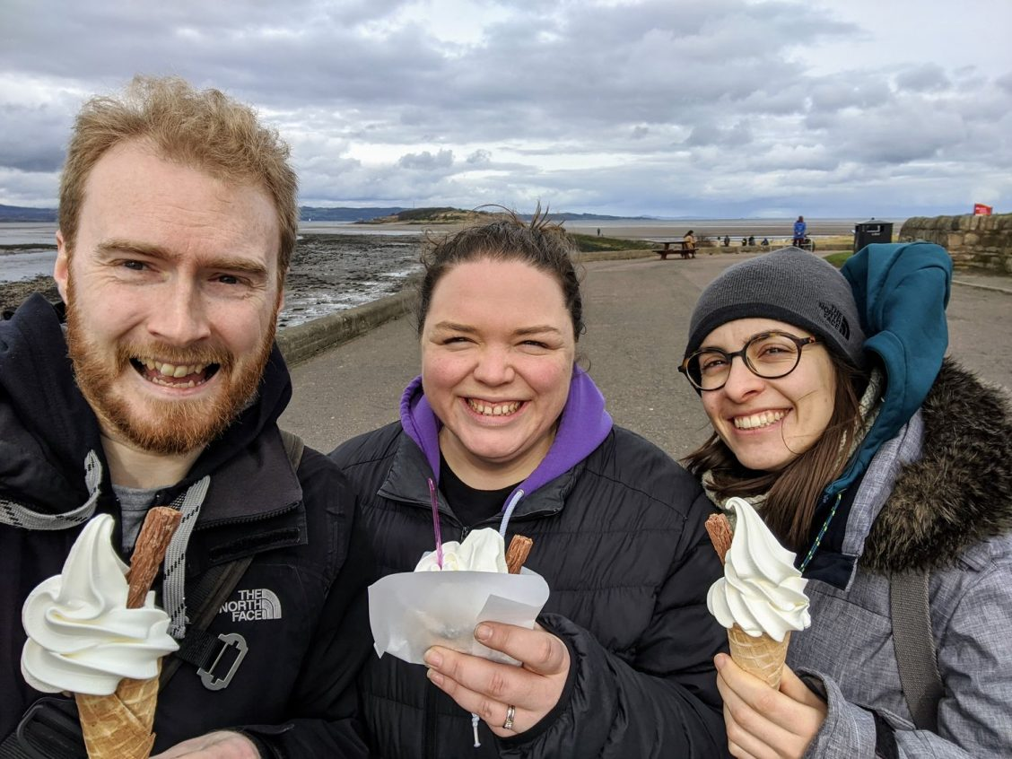 Me, Alex and Ana eating ice cream at Cramond