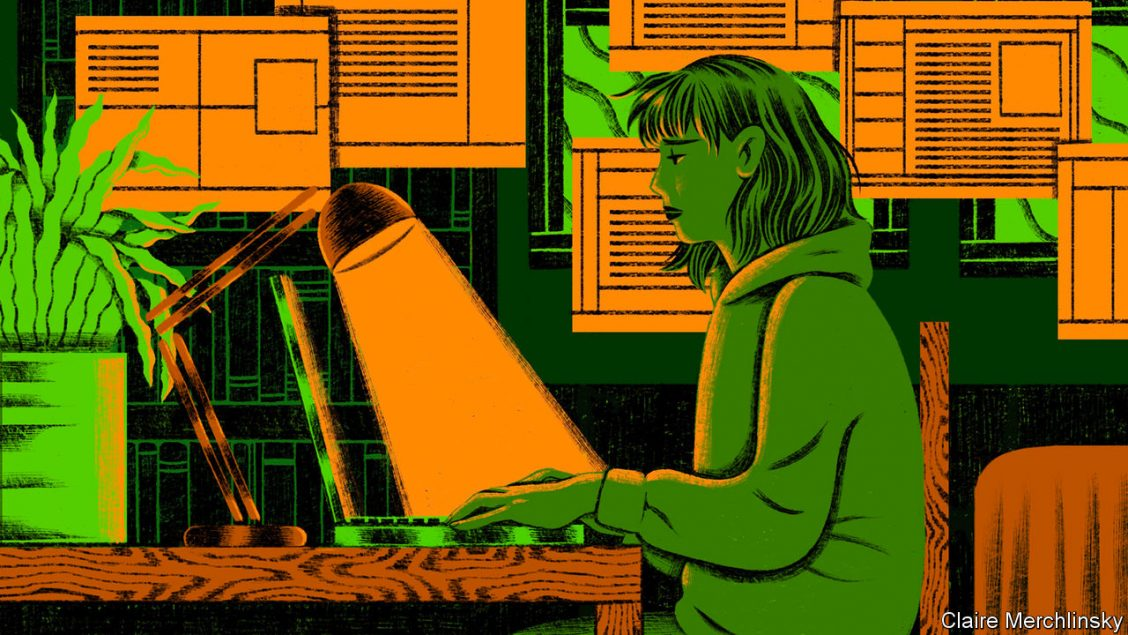 Illustration of a glum-looking woman sitting at a desk in a dark room
