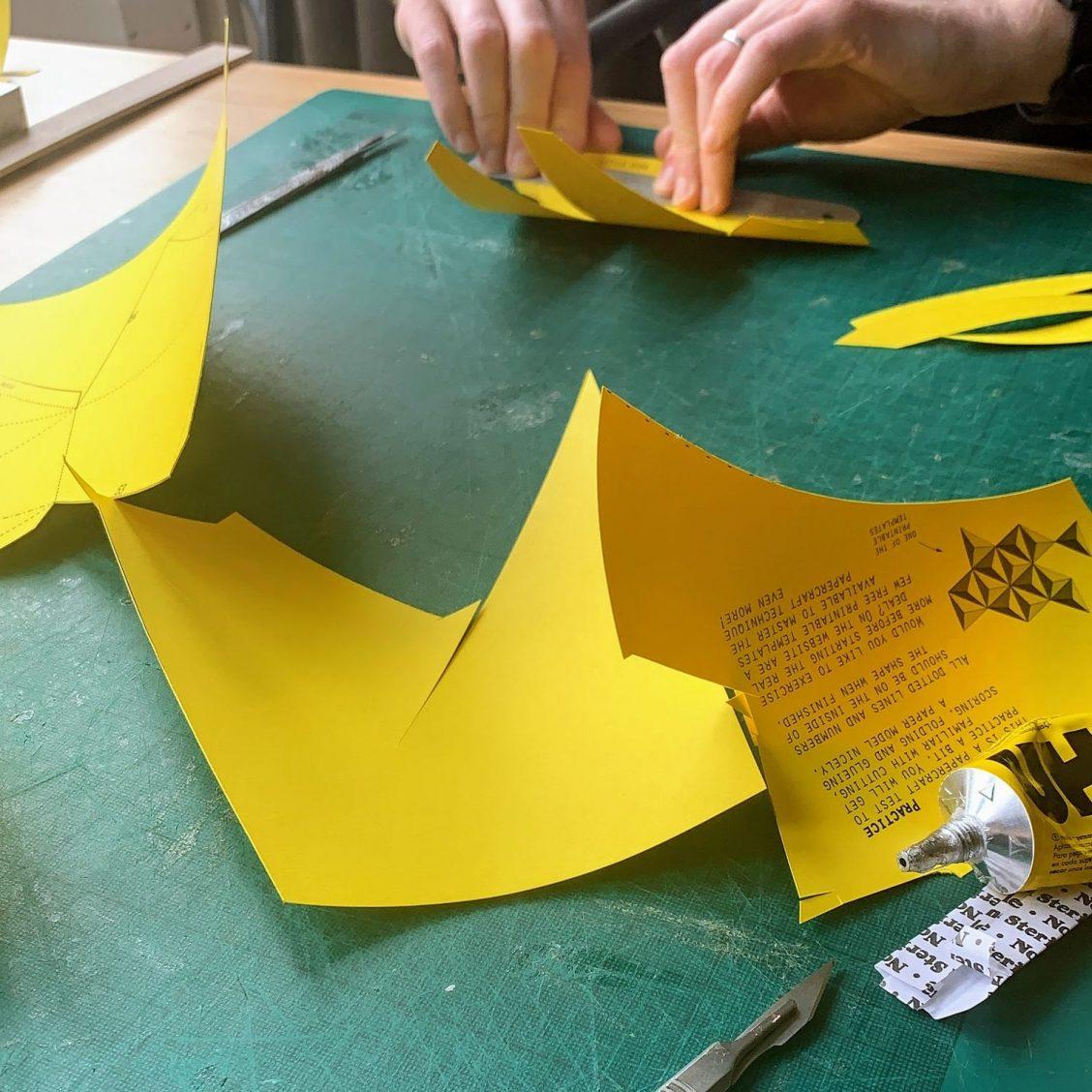 Me working on the paper rhino