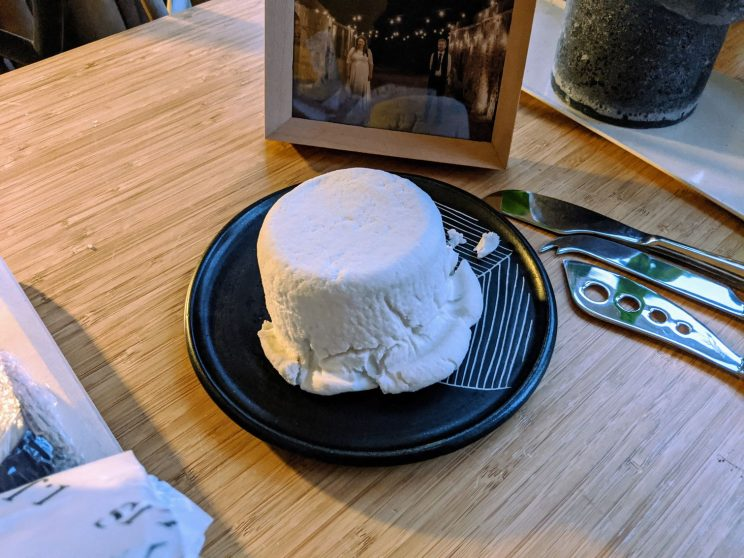 A small round of firm goat's cheese