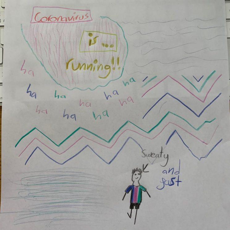 """Despina's illustration: """"Coronavirus is... Running!"""""""