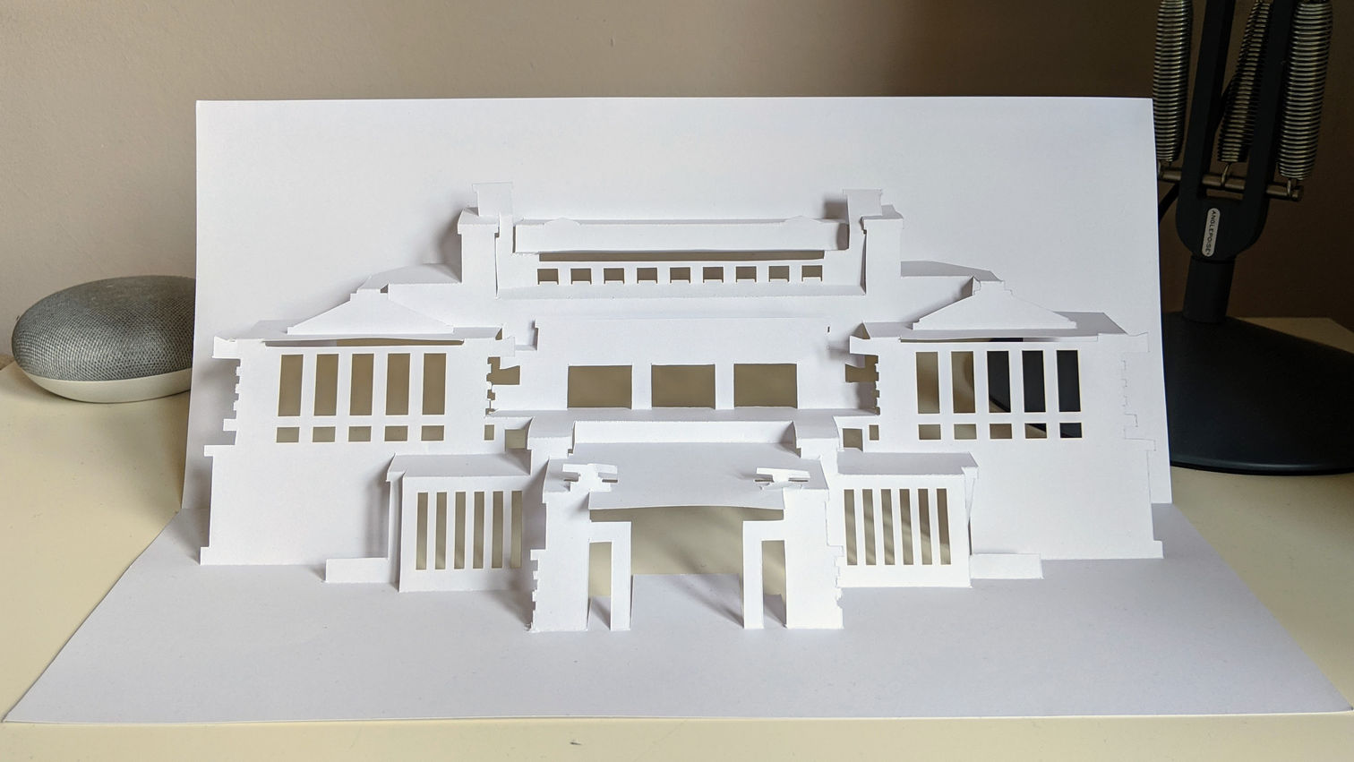 Kirigami model of Unity Temple