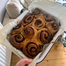 Cinnamon buns in a tray