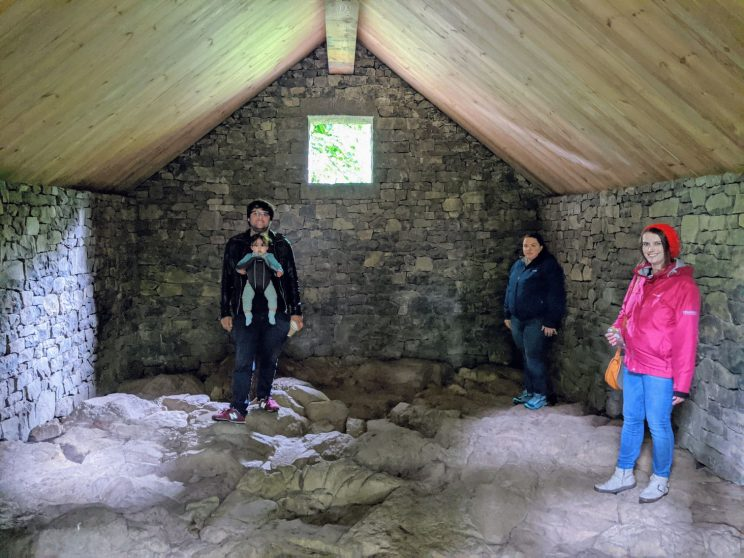 Jamie, Elena, Alex and Louise inside Stone House (Bonnington) by Andy Goldsworthy
