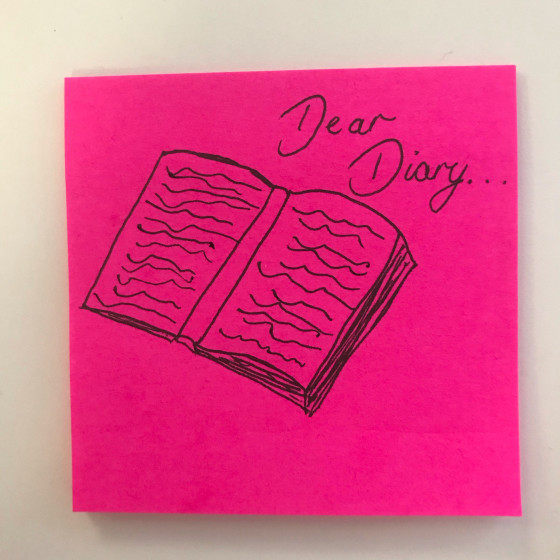 "Sticky note with an illustration of a diary labelled: ""Dear Diary"""