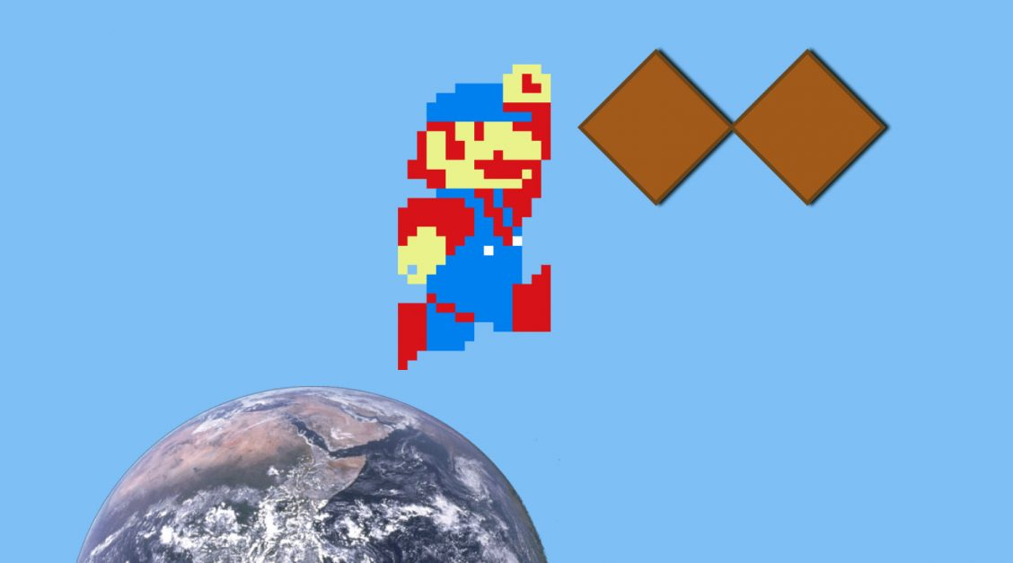Mario jumping on the Earth to collect double diamonds